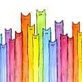 Cat Rainbow Watercolor Pattern by Olga Shvartsur