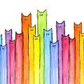 Cat Rainbow Watercolor Pattern by Olga Shvartsur