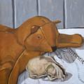 Cat Skull And Toy Cat by Phillip Schwartz