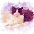 Cat Watercolor by Chocolate Pudding