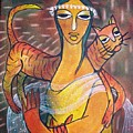 Cat With Woman by Gk
