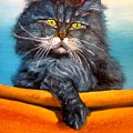 Cat.go To Swim.original Oil Painting by Natalja Picugina