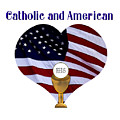 Catholic And American Flag And Holy Eucharist by Rose Santuci-Sofranko