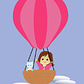 Cathy And The Cat - Hot Air Balloon by Laura Greco