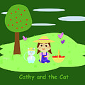 Cathy And The Cat With Apples by Laura Greco