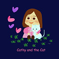Cathy And The Cat With Butterflies  by Laura Greco