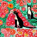 Cats And Roses by Sushila Burgess