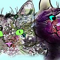 Cats Hiding In The Cottage Garden by Ryn Shell