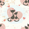 Cats In Love, Romantic Decorative Seamless Pattern by Long Shot