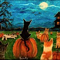 Cats In Pumpkin Patch by Paintings by Gretzky