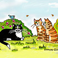 Cats Talking In A Sunny Garden by Frances Gillotti
