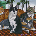 Cats Up On The Roof by Carol Wilson