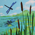 Cattails And Dragonflies by Robin Maria Pedrero