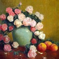 Celadon Vase With Roses And Nectarines by David Olander