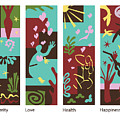 Celebrate Life 4 Panels by Xueling Zou