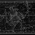 Celestial Map Print From 1822 - Black And White by Marianna Mills
