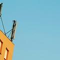 Cellular Phone Antennas And A Half Moon At Sunset by Sami Sarkis