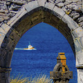 Celtic Cross And Fishing Vessel From Isle Of Inisheer by James Truett