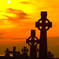 Celtic Crosses In Graveyard by Carl Purcell