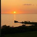 Cement Ship Sunset by Jim Georgiana