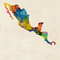 Central America And Mexico Watercolor Map by Michael Tompsett