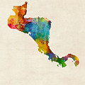 Central America Watercolor Map by Michael Tompsett