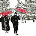 Central Park Snow And Red Umbrellas by Regina Geoghan
