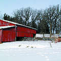 Century Farm Shed In Snow Watercolor by Laurie With