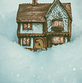 Ceramic Cottage In Snow by Amanda Elwell