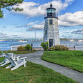 Chairs At Newport Harbor Lighthouse by Brian MacLean
