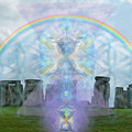 Chalice Over Stonehenge In Flower Of Life And Man by Christopher Pringer