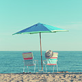 Chalker Beach Old Saybrook Ct Two Empty Beach Chairs by Edward Fielding