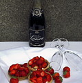 Champagne Bottle With Strawberry Tarts And 2 Glasses by Sally Weigand