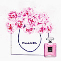 Chanel Bag With Pink Peonys by Del Art
