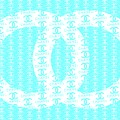 Chanel Logo Blue Teal White by Del Art