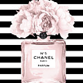 Chanel N.5, Black And White Stripes by Del Art
