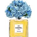 Chanel Perfume Nr 5 With Blue Hydragenias  by Del Art
