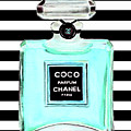 Chanel Perfume Turquoise Chanel Poster Chanel Print by Del Art