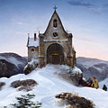 Chapel On A Mountain In Winter by Ernst Ferdinand Oehme