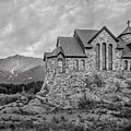 Chapel On The Rock - Black And White by James Woody