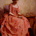 Chaplin Charles Girl In A Pink Dress Reading With A Dog by PixBreak Art