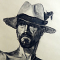 Charcoal Portrait Of A Man Wearing A Summer Hat by Greta Corens