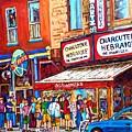 Charcuterie Schwartz Line Up Montreal Summer Scene Painting Rue St Laurent Carole Spandau by Carole Spandau