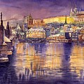 Charles Bridge And Prague Castle With The Vltava River by Yuriy Shevchuk