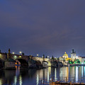 Charles Bridge At Night by Michael Garner
