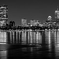 Charles River Boston Ma Prudential Lit Up Not Done New England Patriots Black And White by Toby McGuire