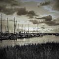 Charleston Marina Sunset In Sepia by Yvette Wilson