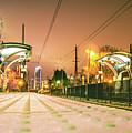 Charlotte City Skyline Night Scene With Light Rail System Lynx T by Alex Grichenko