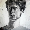 Charcoal Portrait Drawing Of A Curly Haired Man In The Shade by Greta Corens