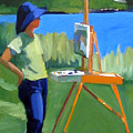 Charyl Painting At Pope John Paul II Park by Deb Putnam